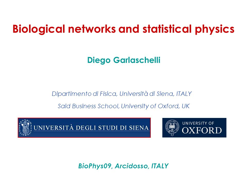 Biological networks and statistical physics