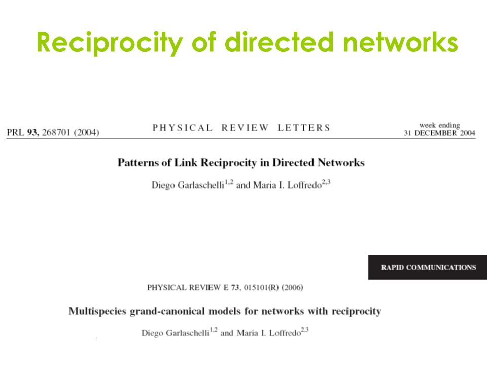 Reciprocity of directed networks