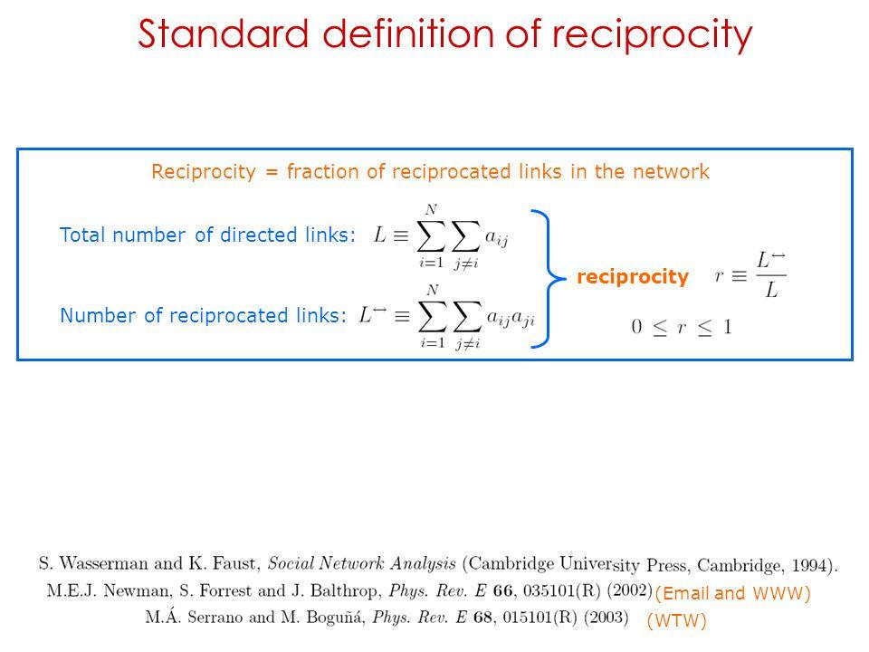 Standard definition of reciprocity