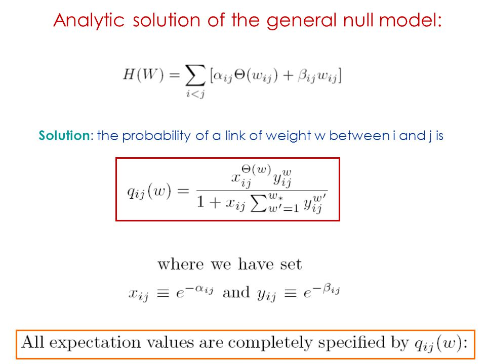 Analytic solution of the general null model: