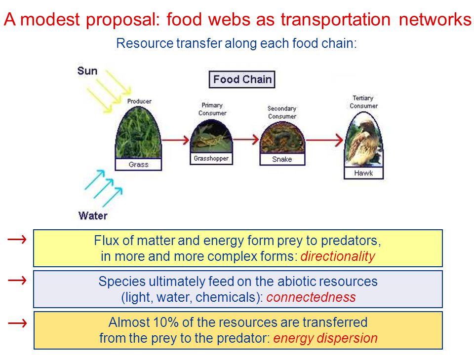 A modest proposal: food webs as transportation networks