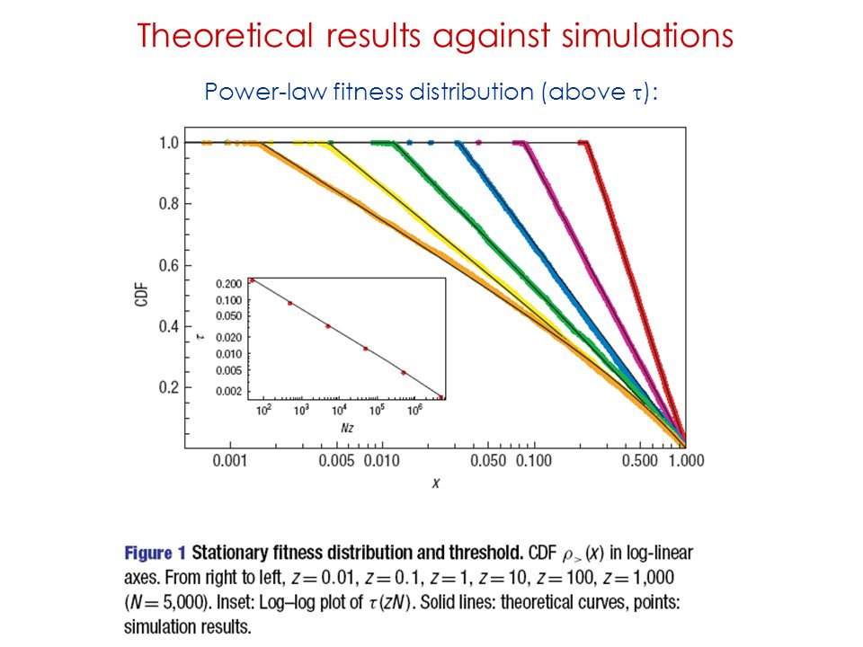 Theoretical results against simulations