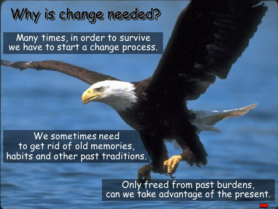 Why is change needed Many times, in order to survive