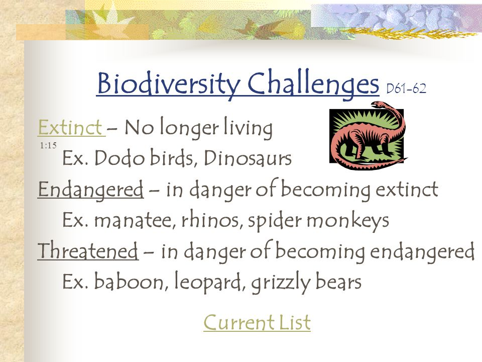 Biodiversity Challenges D61-62