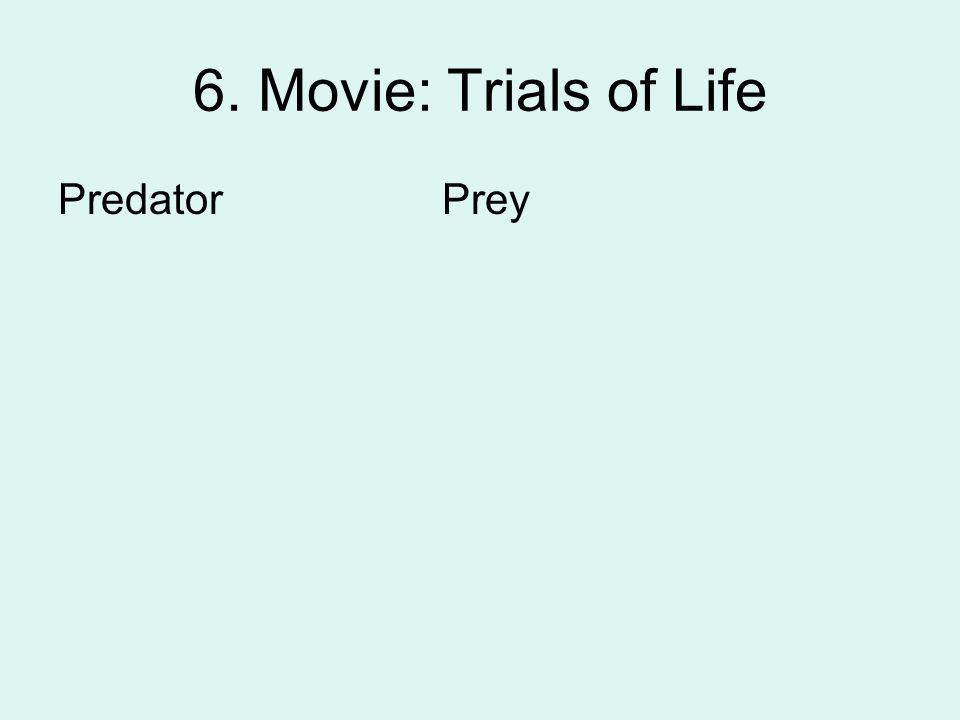 6. Movie: Trials of Life Predator Prey