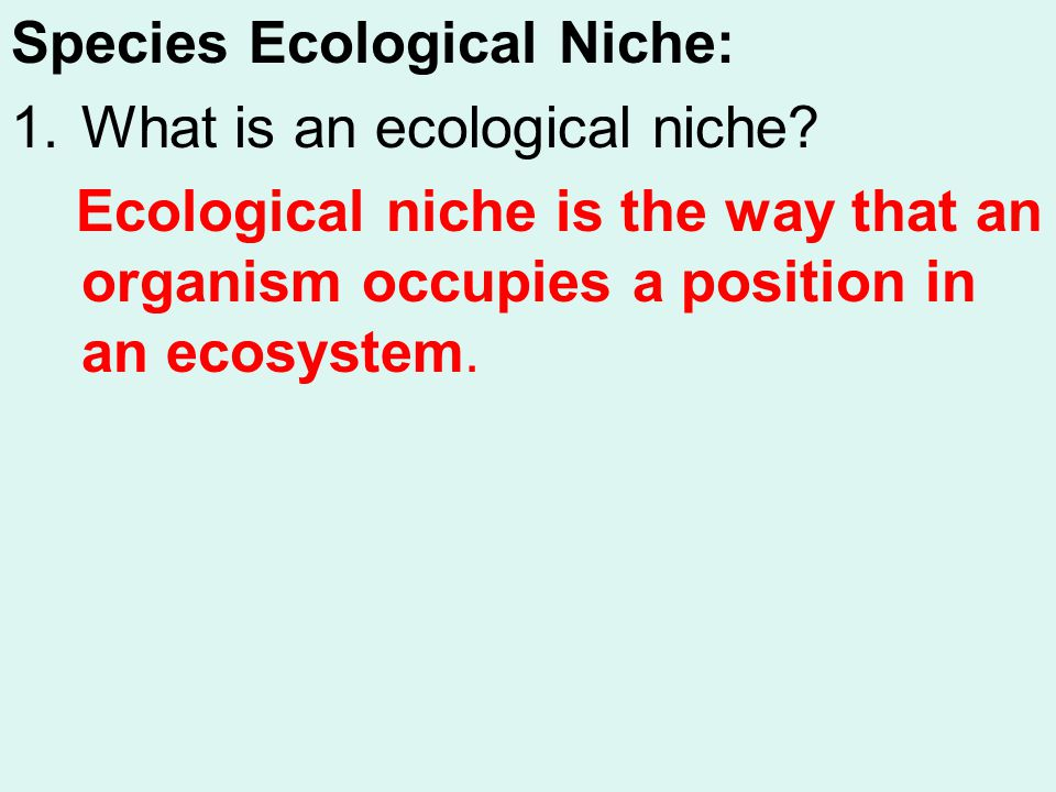 Species Ecological Niche: