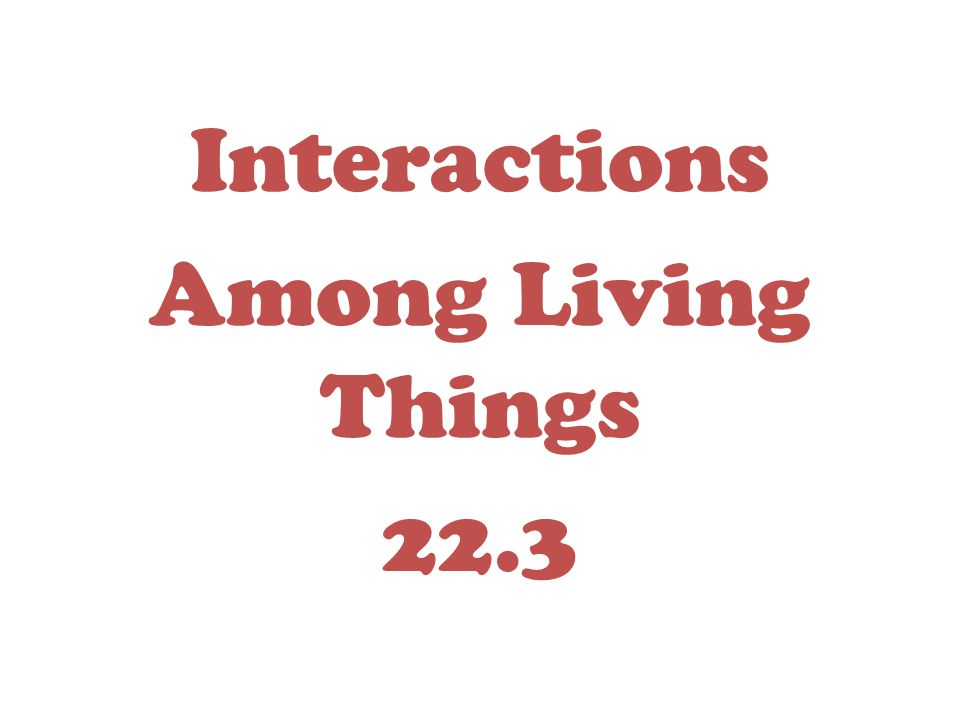Interactions Among Living Things 22.3