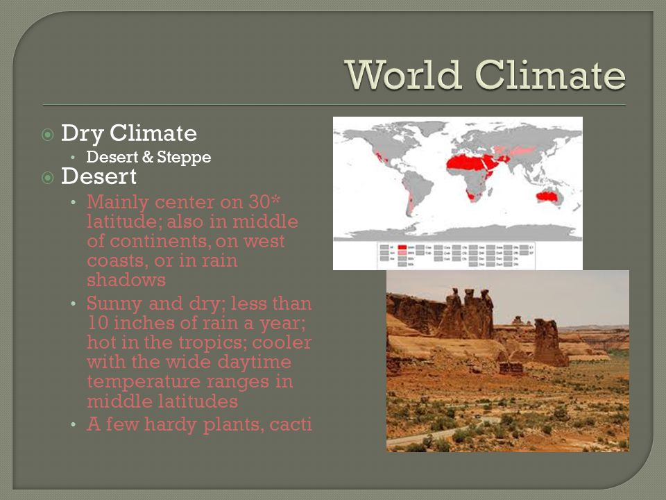 World Climate Dry Climate Desert