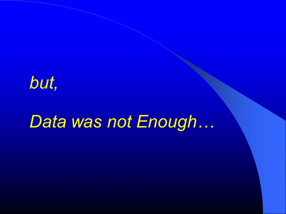 but, Data was not Enough…