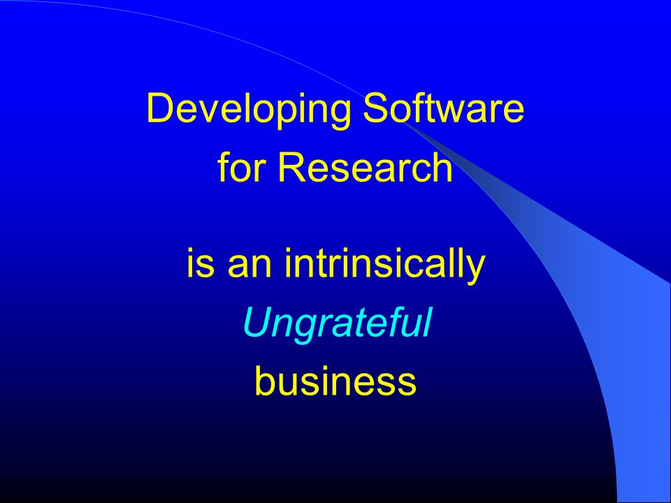 Developing Software for Research