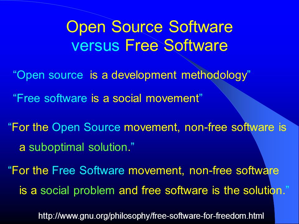 Open Source Software versus Free Software