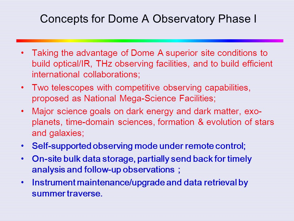 Concepts for Dome A Observatory Phase I