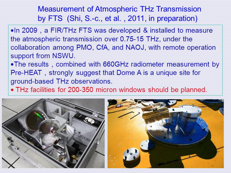 Measurement of Atmospheric THz Transmission by FTS (Shi, S.-c., et al. , 2011, in preparation)