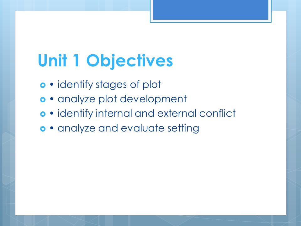 Unit 1 Objectives • identify stages of plot • analyze plot development