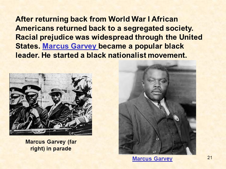 Marcus Garvey (far right) in parade