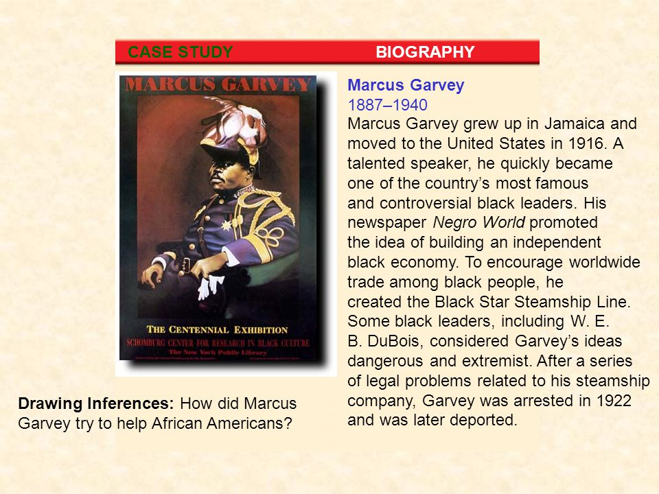 CASE STUDY BIOGRAPHY Marcus Garvey. 1887–1940. Marcus Garvey grew up in Jamaica and.