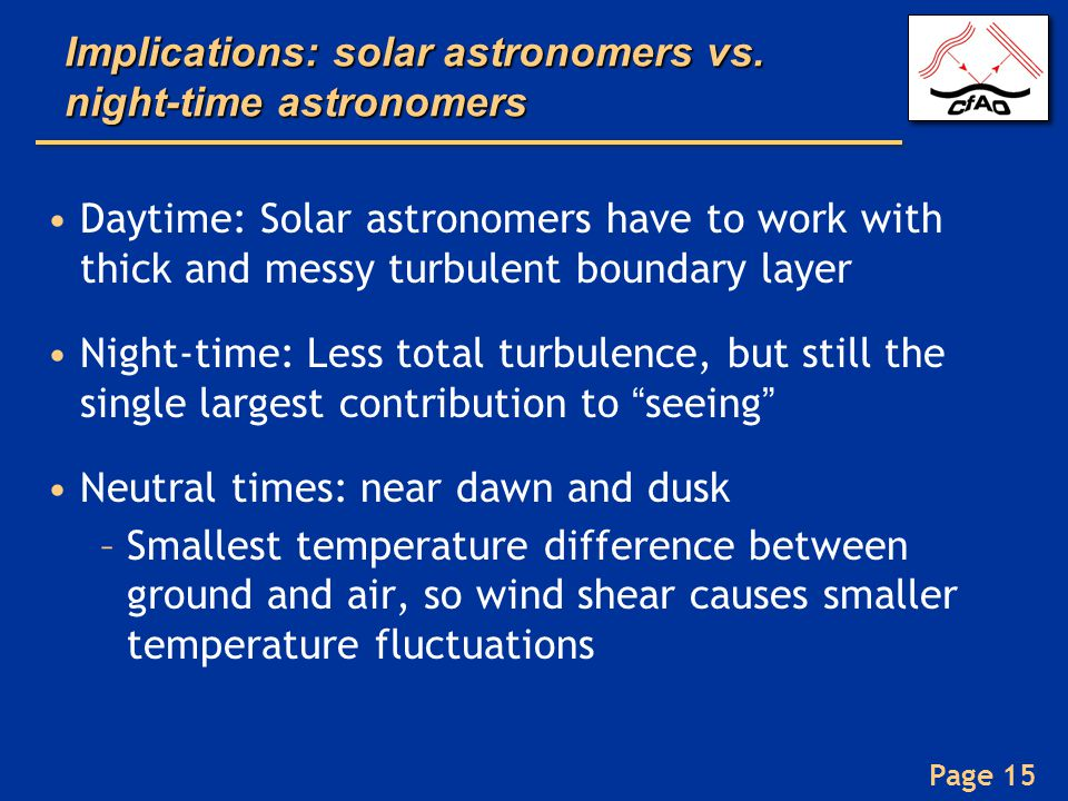 Implications: solar astronomers vs. night-time astronomers