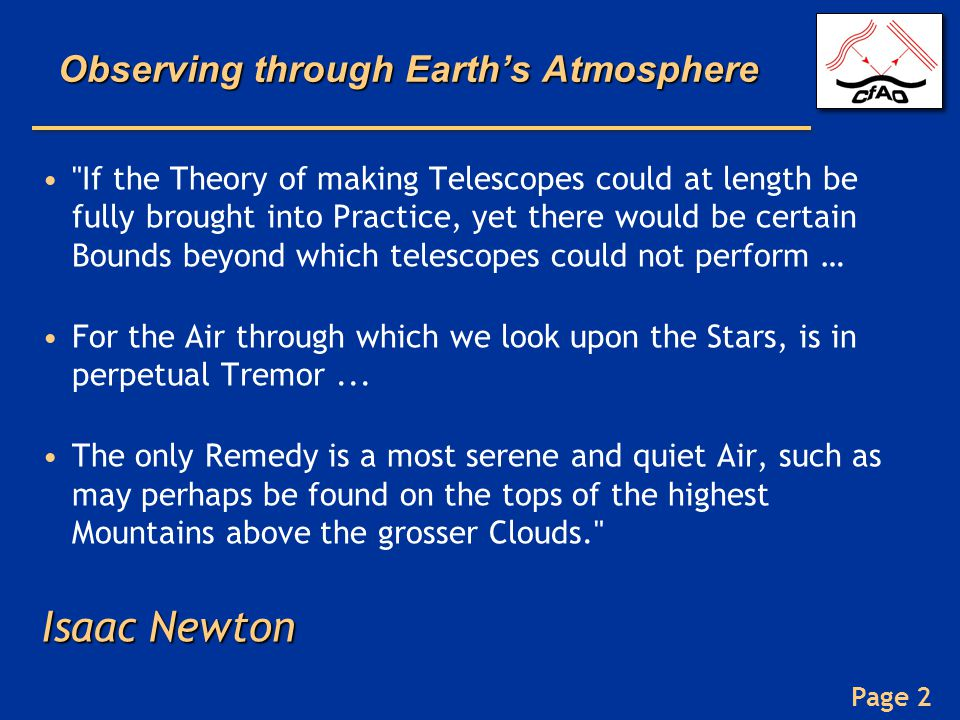 Observing through Earth's Atmosphere