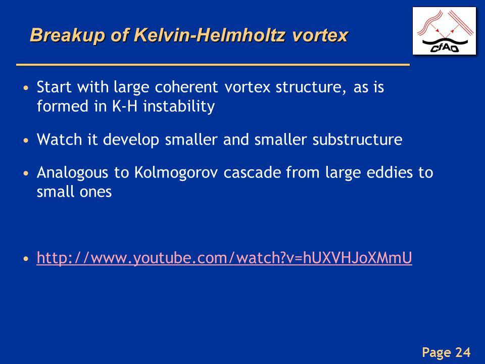 Breakup of Kelvin-Helmholtz vortex