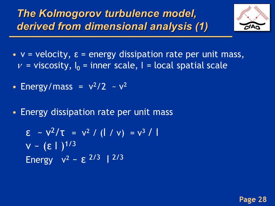 The Kolmogorov turbulence model, derived from dimensional analysis (1)