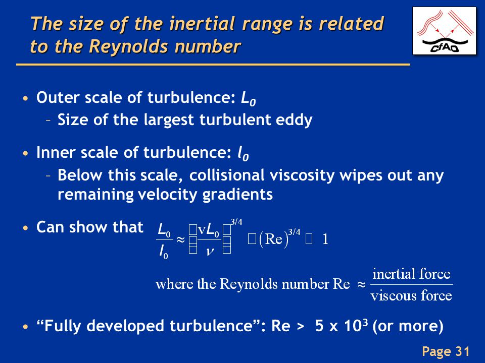 The size of the inertial range is related to the Reynolds number