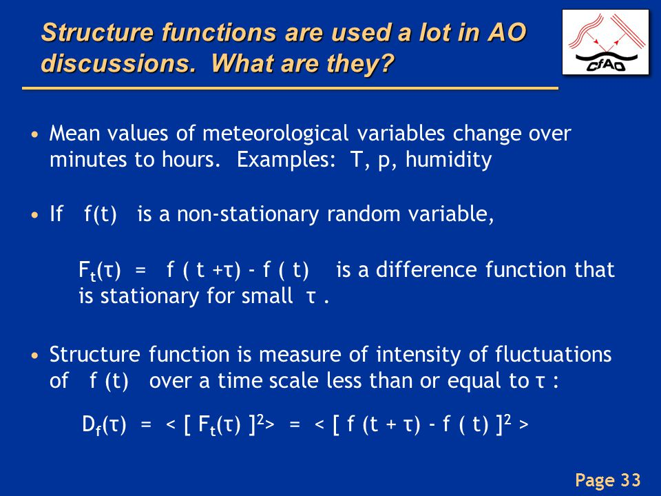 Structure functions are used a lot in AO discussions. What are they
