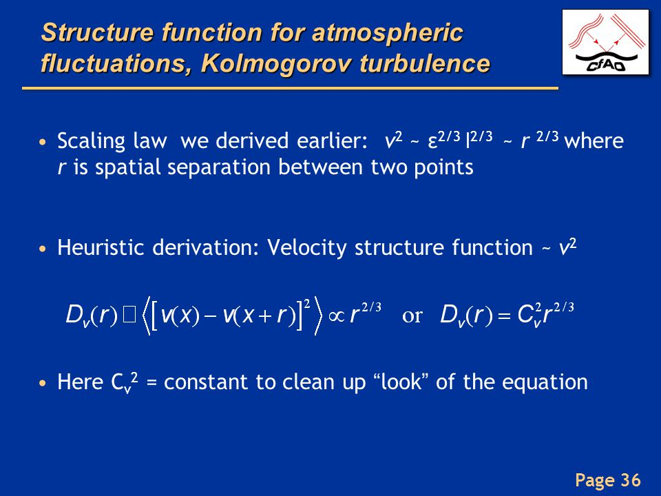 Structure function for atmospheric fluctuations, Kolmogorov turbulence