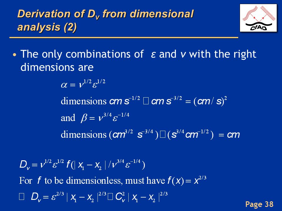 Derivation of Dv from dimensional analysis (2)