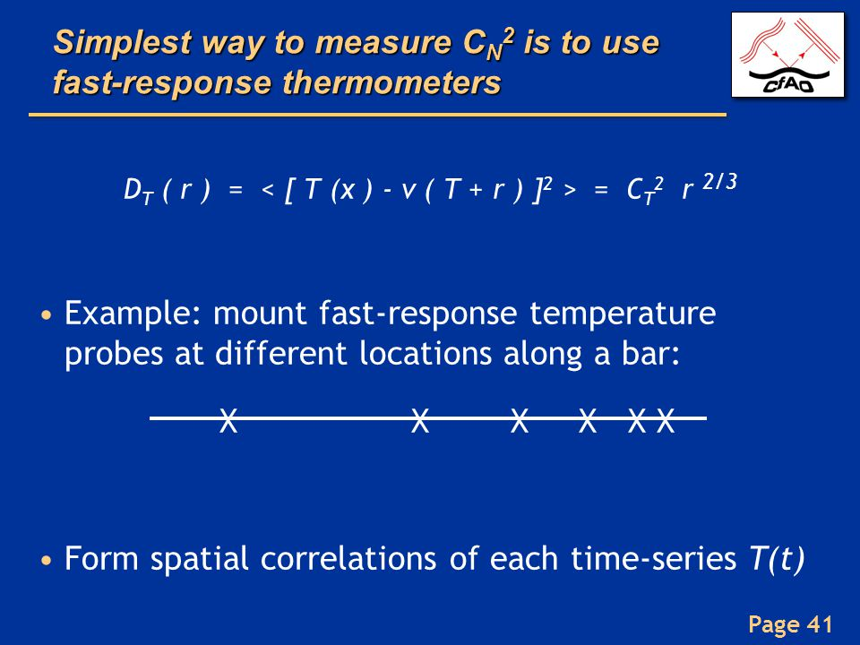 Simplest way to measure CN2 is to use fast-response thermometers