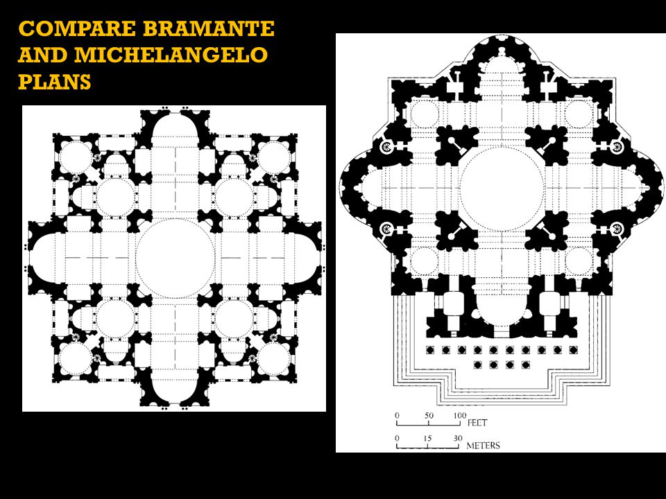 COMPARE BRAMANTE AND MICHELANGELO PLANS