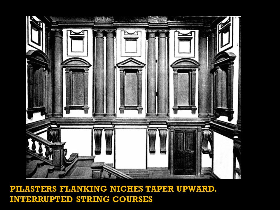 PILASTERS FLANKING NICHES TAPER UPWARD. INTERRUPTED STRING COURSES