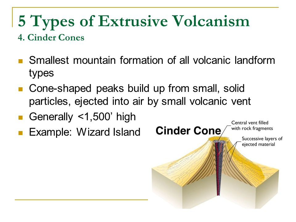 5 Types of Extrusive Volcanism 4. Cinder Cones