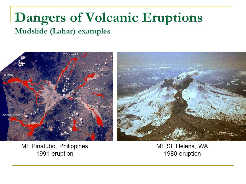Dangers of Volcanic Eruptions Mudslide (Lahar) examples