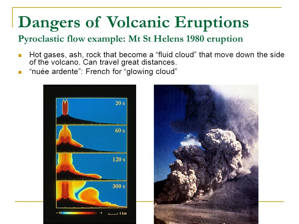 Dangers of Volcanic Eruptions Pyroclastic flow example: Mt St Helens 1980 eruption