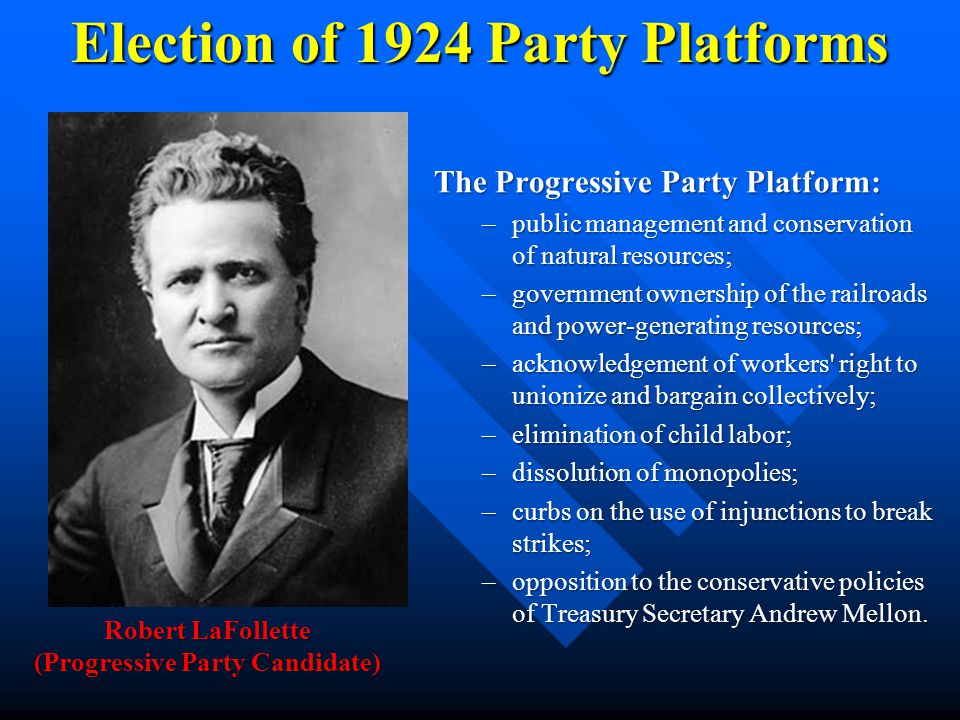 Election of 1924 Party Platforms