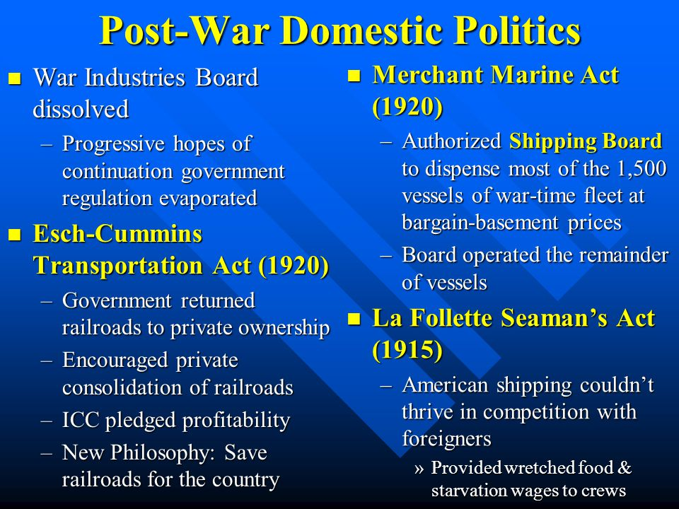 Post-War Domestic Politics