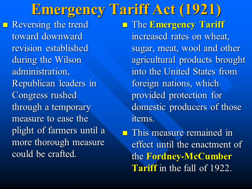 Emergency Tariff Act (1921)