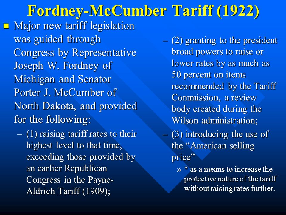 Fordney-McCumber Tariff (1922)