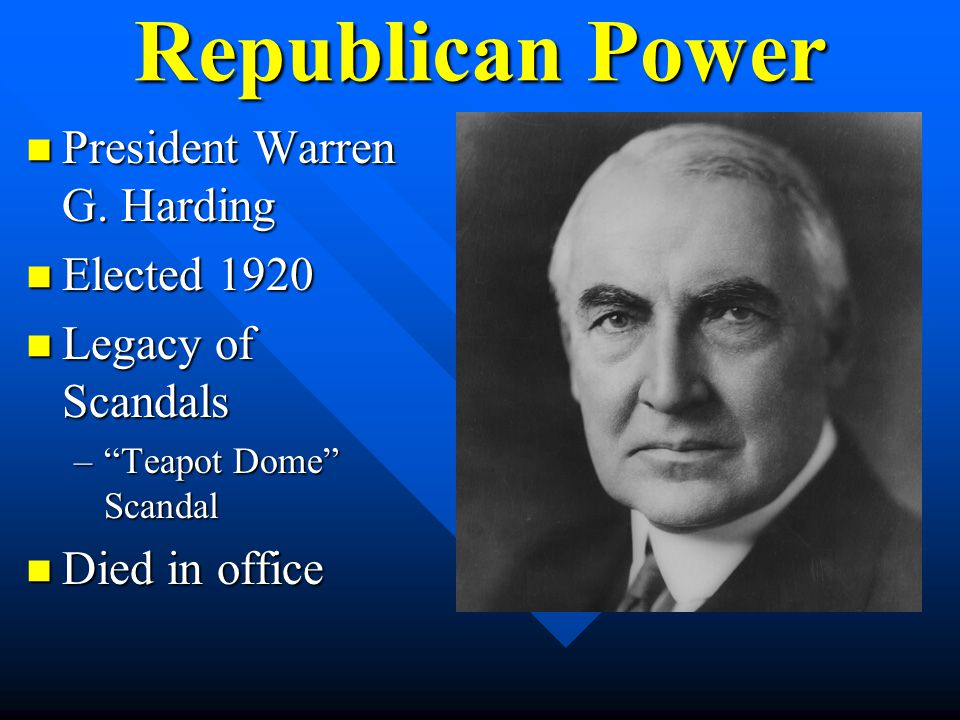 Republican Power President Warren G. Harding Elected 1920