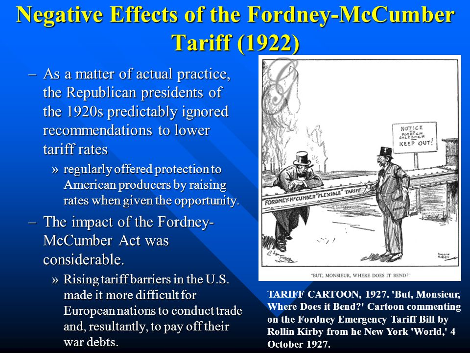 Negative Effects of the Fordney-McCumber Tariff (1922)