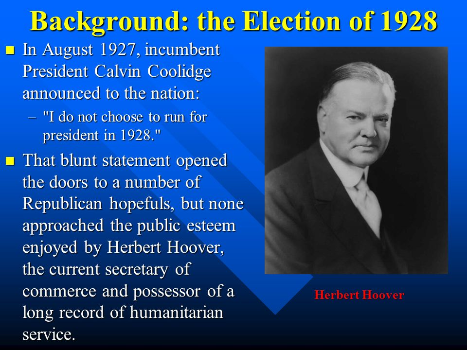 Background: the Election of 1928