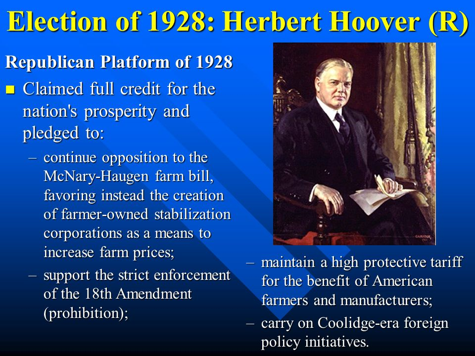 Election of 1928: Herbert Hoover (R)
