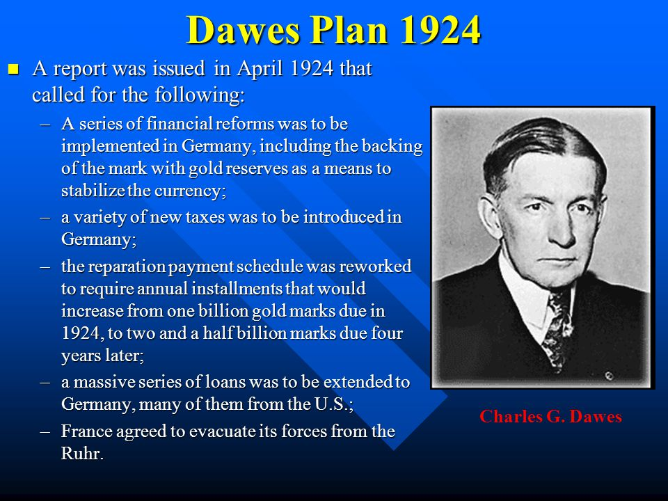 Dawes Plan 1924 A report was issued in April 1924 that called for the following: