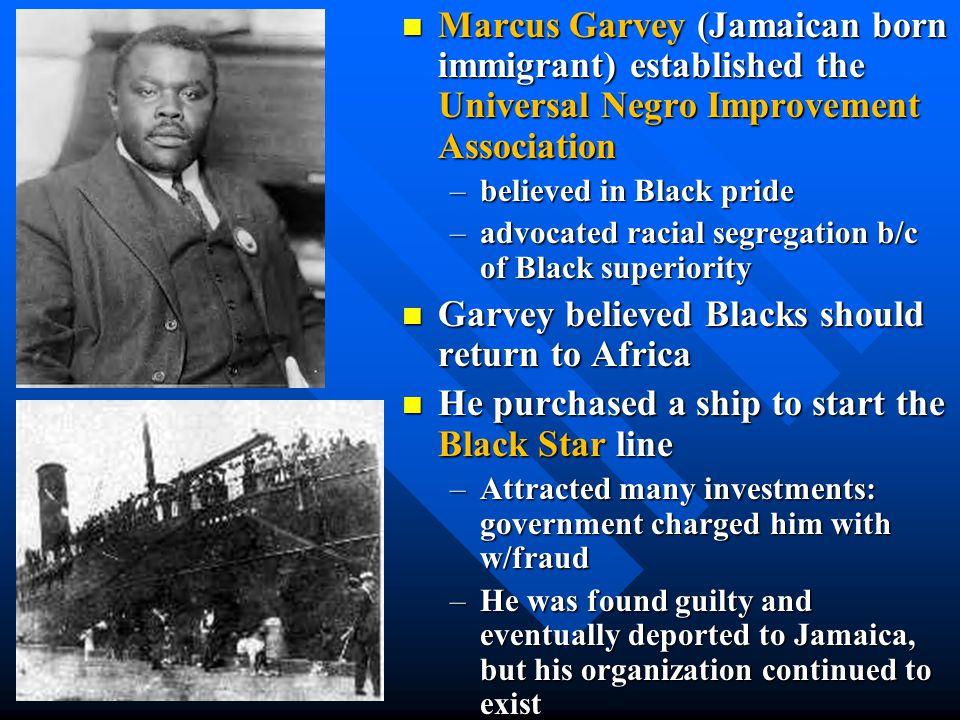 Garvey believed Blacks should return to Africa