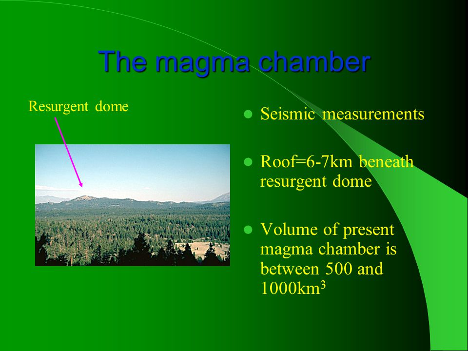 The magma chamber Seismic measurements