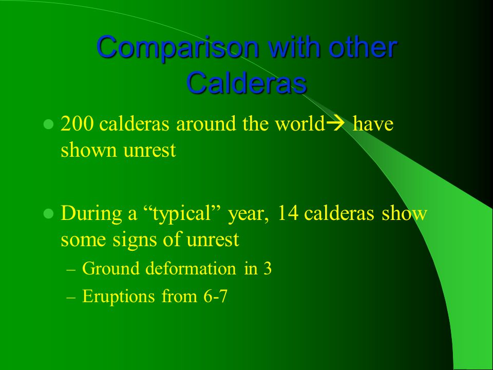 Comparison with other Calderas