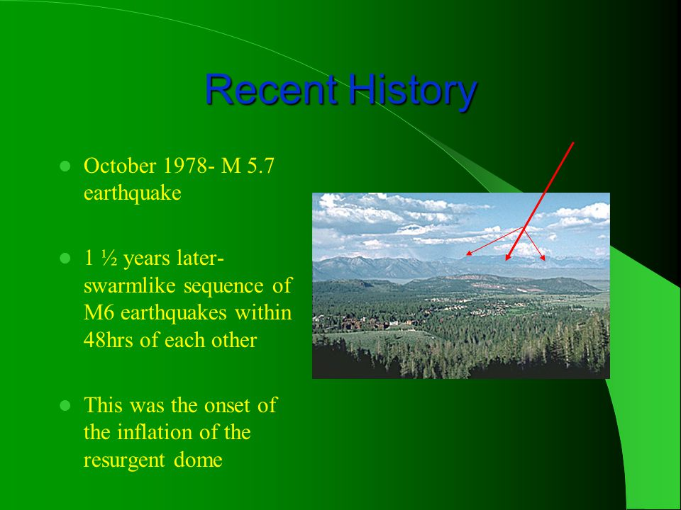 Recent History October 1978- M 5.7 earthquake