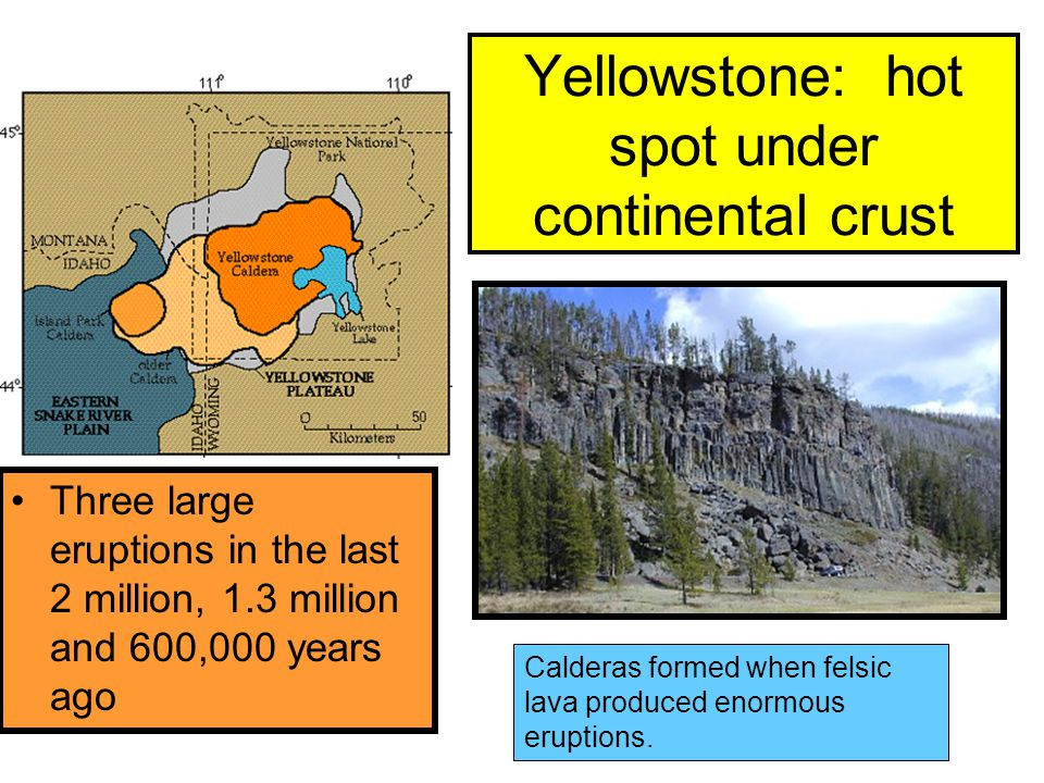 Yellowstone: hot spot under continental crust