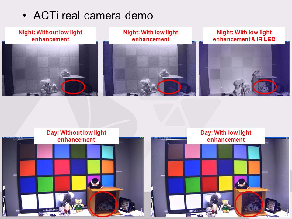 ACTi real camera demo Night: Without low light enhancement