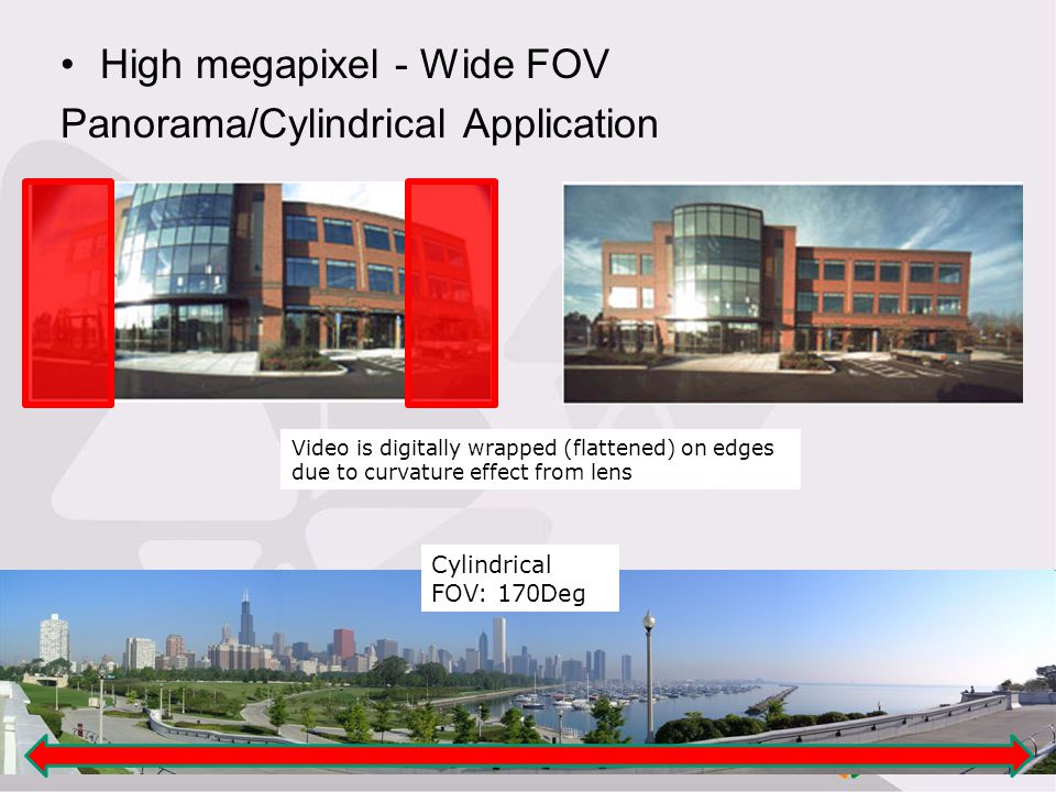 High megapixel - Wide FOV Panorama/Cylindrical Application